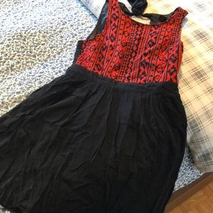 Red and Black Embroidered Dress